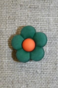 2-farvet blomsterknap flaskegrøn/orange