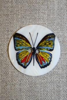 Hvid perlemors-knap m/sommerfugl