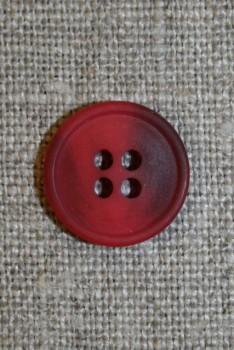 4-huls knap hindbærrød/vinrød meleret, 15 mm.