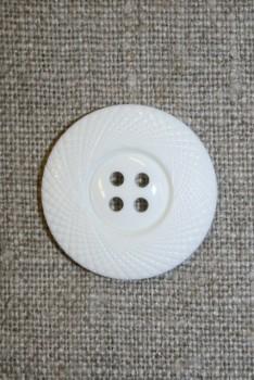 4-huls knap hvid m/mønster-kant, 25 mm.