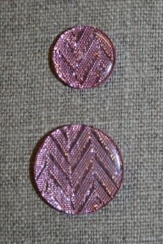 Knap m/glimmer zigzag, rosa, 25 mm