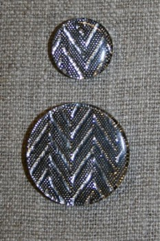 Knap m/glimmer zigzag, sølv