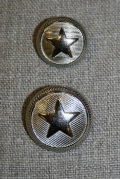 Uniforms-knap m/stjerne sølv, 20 mm.