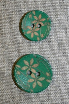 Træknap m/blomst i 2 str. grøn