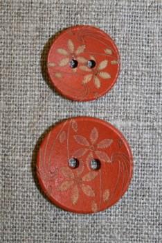 Træknap m/blomst i koral 23 mm