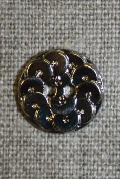 Knap i Palliet-look, sølv 18 mm.