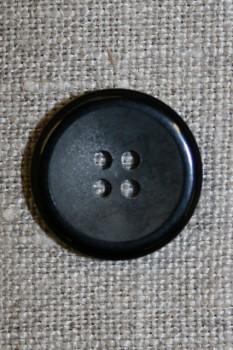 4-huls knap koksgrå meleret m/sort kant 20 mm.