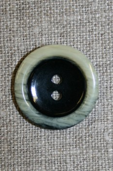 2-huls knap sort m/off-white kant, 22 mm.