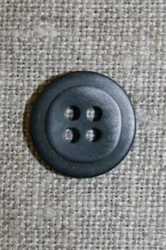 4-huls knap meleret sort/grå, 15 mm.