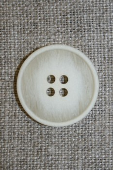 4-huls knap off-white meleret 22 mm.