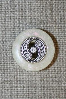 Knap off-white m/sølv midte
