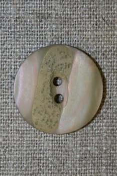 2-huls knap meleret beige/lys oliven, 22 mm.
