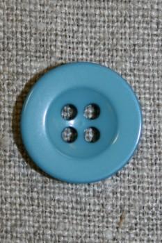 Lys petrol 4-huls knap, 18 mm.