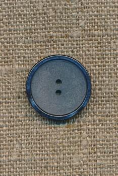 Mat denim-blå knap m/blank kant, 18 mm.