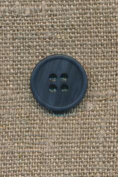 4-huls knap mørkeblå-meleret, 15 mm.