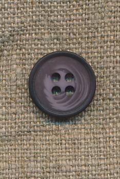4-huls knap meleret lilla/lyng, 15 mm.