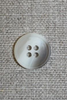 4-huls knap grå/off-white-meleret 15 mm.