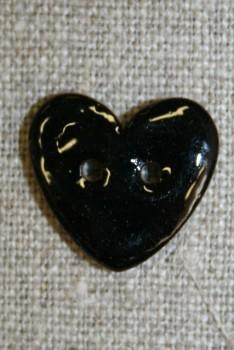Kokos-knap m/emalje, hjerte sort 20 mm.