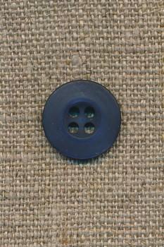 Mørk blå 4-huls knap, 15 mm.