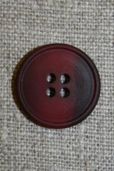 4-huls knap meleret mørk hindbær/bordeaux, 20 mm.