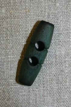 Aflang træknap/knebel 40 mm. flaskegrøn