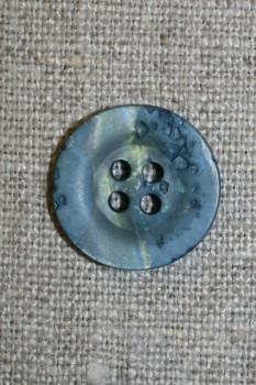 4-huls knap krakeleret denim/grøn, 18 mm.
