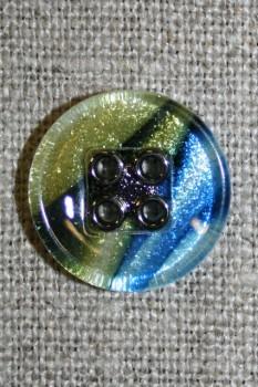 4-huls knap i glas-look, blå/gul/sort 18 mm.