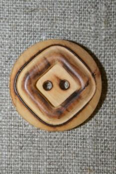 Brændt lys træ-knap m/firkant, 28 mm.