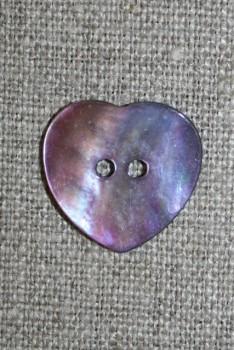 Perlemors-knap hjerte lys lilla, 20 mm.