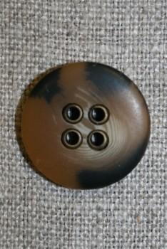 4-huls knap i camouflage-look, brun 20 mm.