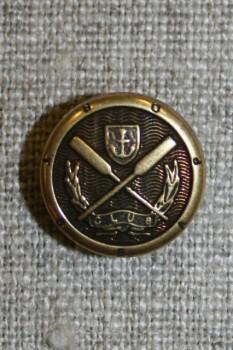Gl.guld knap m/åre/anker, 15 mm.