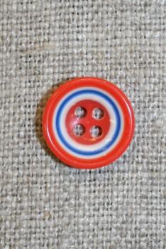 Flerfarvet knap m/cirkler, orange/blå/hvid 13 mm.