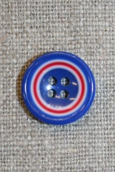 Flerfarvet knap m/cirkler, blå/hvid/rød 15 mm.