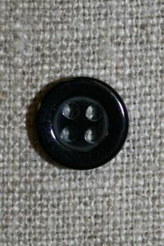 4-huls knap sort 11 mm.