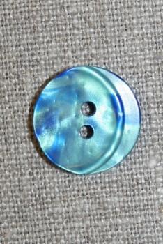 Blank 2-huls knap petrol-grøn/blå