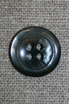 Blank koksgrå 4-huls knap, 18 mm.