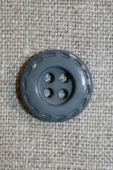 Grå knap m/stikning, 18 mm.