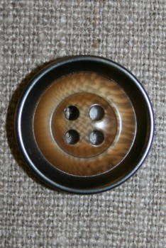 4-huls knap træ/gl.sølv-look, lys 22 mm.