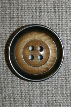 4-huls knap i plast med lys træ og gl.sølv-look 28 mm.