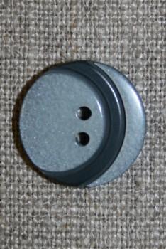 2-huls knap m/bue, lysegrå/mørkegrå 18 mm.