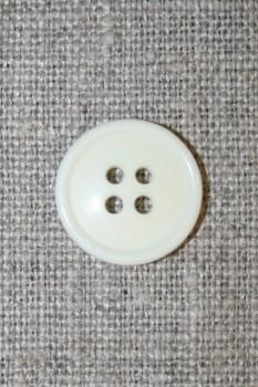 4-huls knap knækket hvid 17 mm.