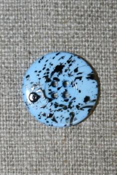 Knap m/pletter lyseblå/sort 18 mm.