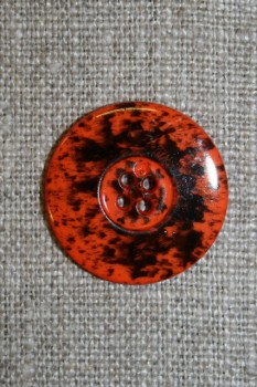 Knap m/pletter orange/sort 23 mm.