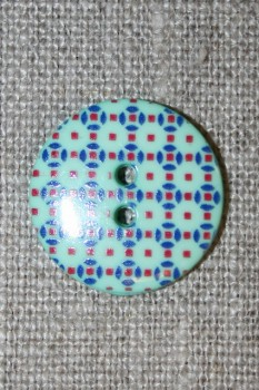 2-huls knap m/retro mønster mint/rød/blå 20 mm.
