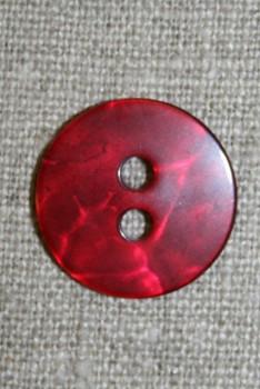 Rød blank, krakeleret knap, 20 mm.