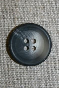 4-huls knap meleret koksgrå/lysegrå 20 mm.