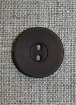Mørkebrun 2-huls knap, 20 mm.