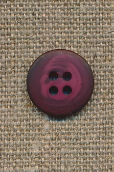 4-huls knap meleret hindbærrød 15 mm.