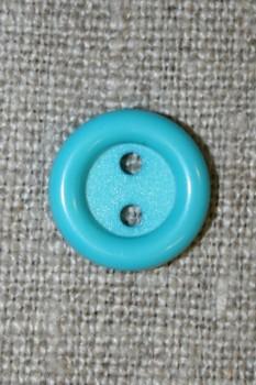 2-huls knap lys turkis 14 mm.