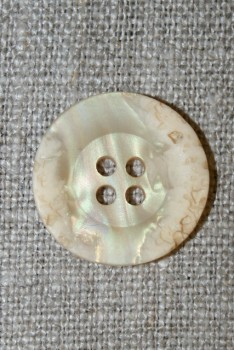 4-huls knap krakeleret creme, 20 mm.